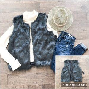 Forever 21 Dark Gray Faux Fur Vest NWT